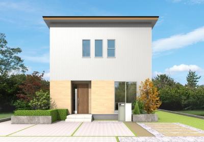 【予約制】スッキリシンプルな ガルバ×ヒノキの白いお家