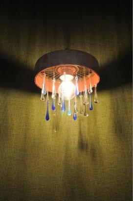 アンティークの着物帯とガラスの雫のオリジナル照明