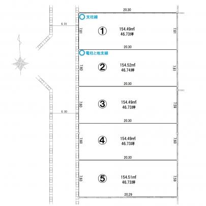 全5区画。区画①にはモデルハウスを建築中、区画⑤はご成約済みとなっております。